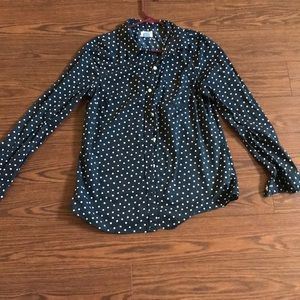 Black and White Polka Dot lightweight button down